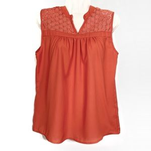Romeo + Juliet Couture Crochet Yoke Tank Top L